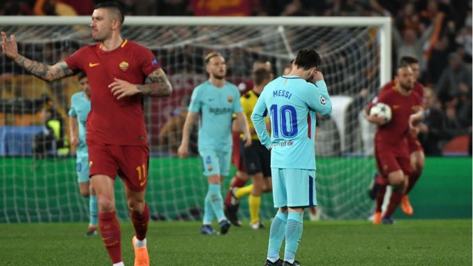 Image result for Champions League: Roma eliminate Barcelona, Liverpool dump Man City out