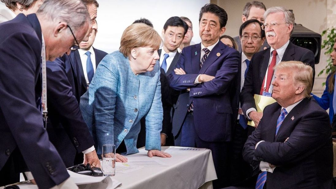 Merkel-Trump photos reveal power play at tense G7