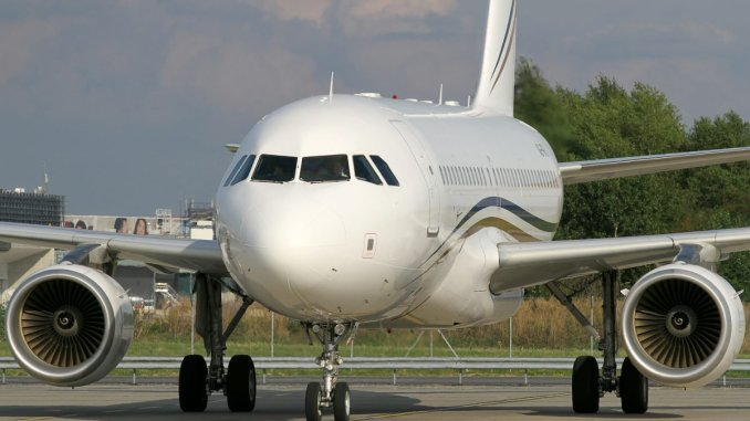 Luxury in the sky ... The Airbus A319 which flew Mnangagwa on latest foreign trip to South Africa