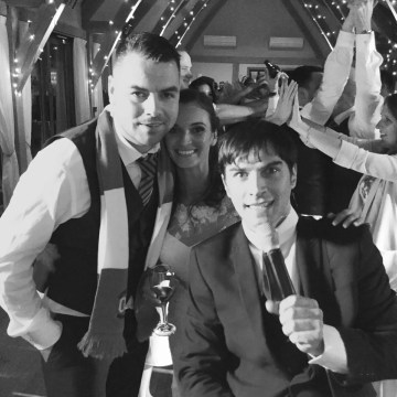 Groom Kevin and Bride Sian with Jamie from The Zoots, Bassmead Manor Barn, Wedding Venue, Barn Wedding, Sian and Kevin, The Zoots, Wedding Decor, Wedding inspiration, Band for my Wedding, Band for Hire, Winter Wedding,