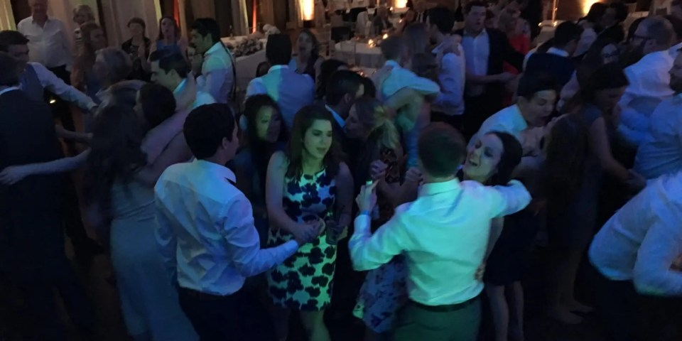 Wedding guests, guests dancing, colshaw hall, lizzie and will, Full Dancefloor, Awesome band, band for hire, people dancing