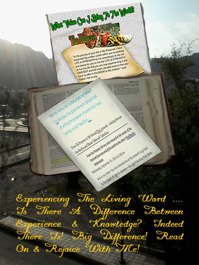 Experiencing The Living Word …. Is There A Difference Between Experience & Knowledge? Indeed There Is! Big Difference! Read On & Rejoice With Me!