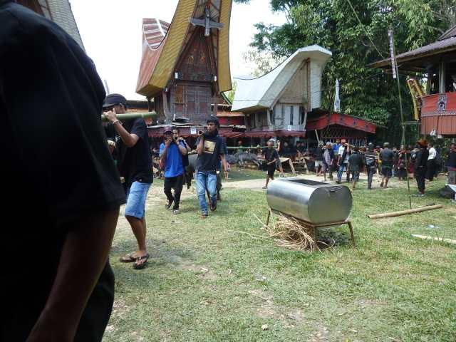 Cuisine lors d'une cérémonie funéraire dans les villages Toraja
