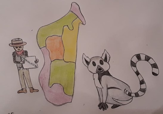 Un voyageur qui étudie Madagascar et un lémurien de l'autre côté, à droite