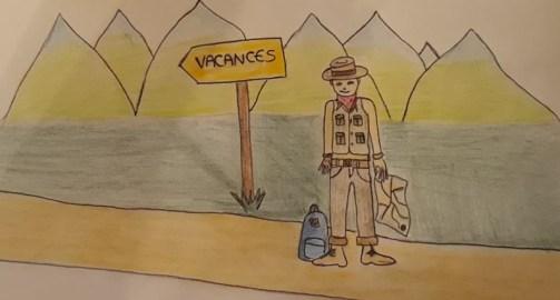 Un voyageur devant un panneau indiquant les vacances avec des montagnes en arrière-plan