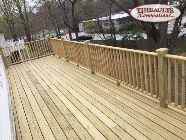 Thibault S Renovations Llc Deck Construction In Stratham Exeter | Pressure Treated Deck Handrail | Real Wood | Light Color | Deck Board | Southern Yellow Pine | Decking