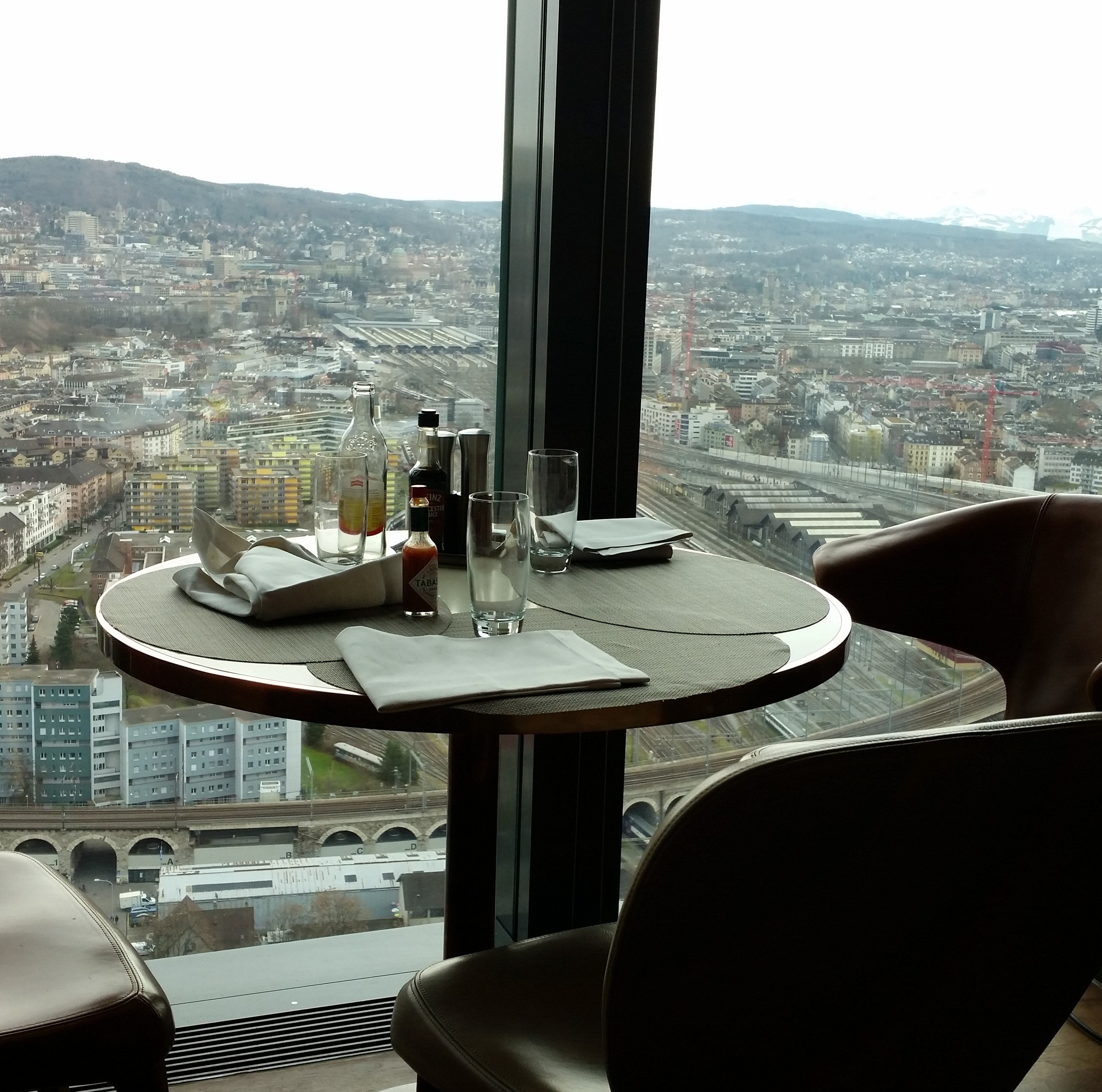 table with a view at Clouds Bistro Zurich