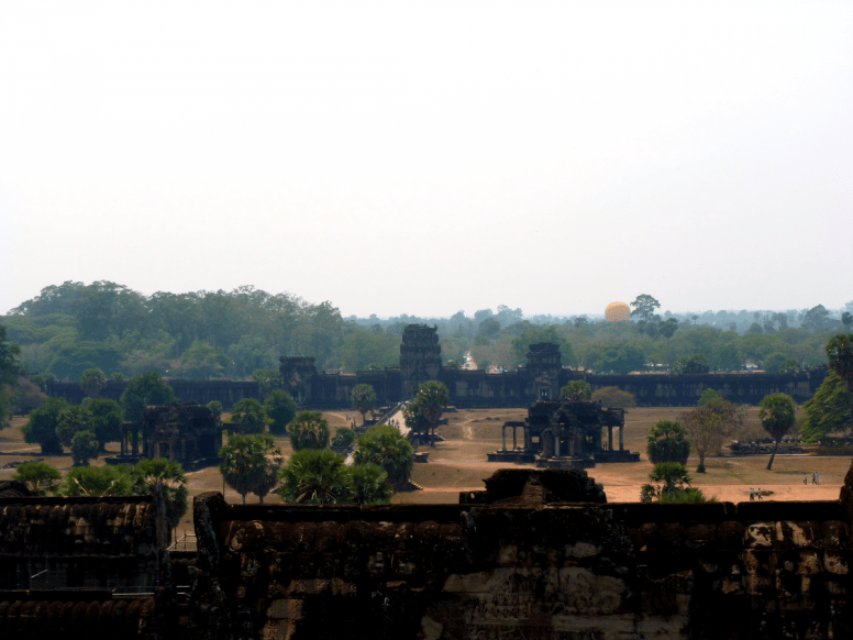 The front grounds of Angkor Wat on a hazy day.