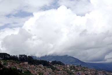 The mountains and neighborhoods surrounding Cusco.