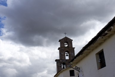 The bell tower of the San Blas Church.
