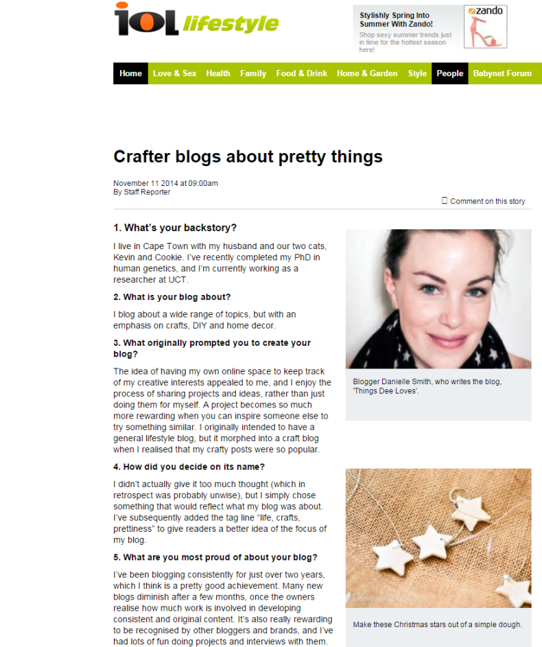 Crafter blogs about pretty things - IOL Lifestyle   IOL.co.za