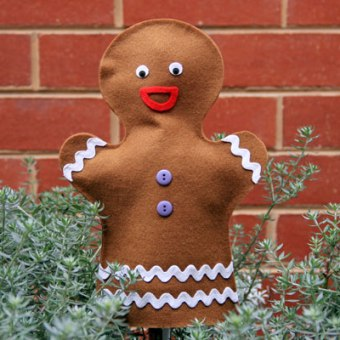 No Sew Gingerbread Man Puppet
