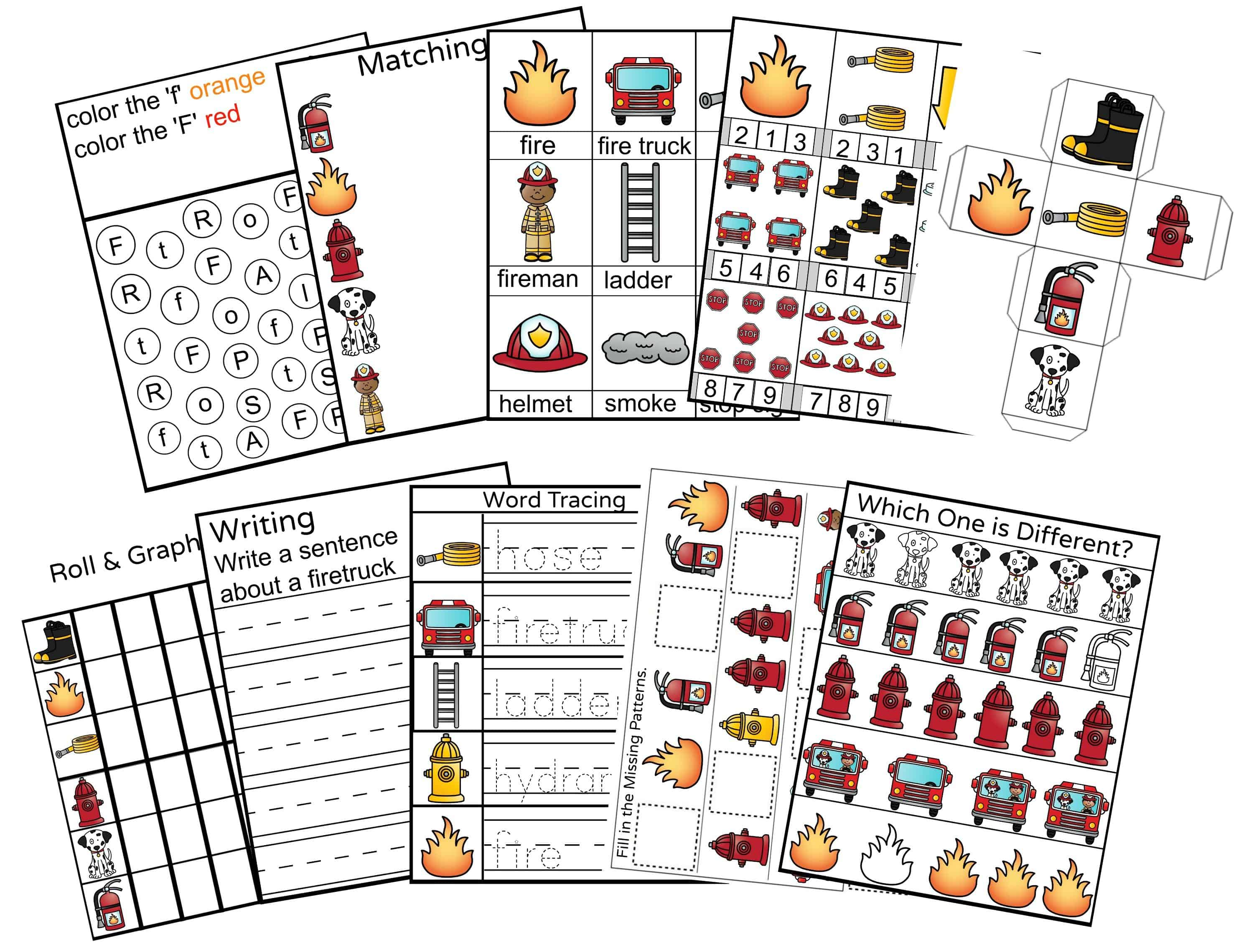 Fire Safety Preschool Printable Activity Pack