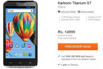 Karbonn Titanium S7 now listed on Flipkart for pre-order