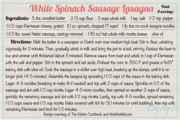 white-spinach-sausage-lasagna recipe