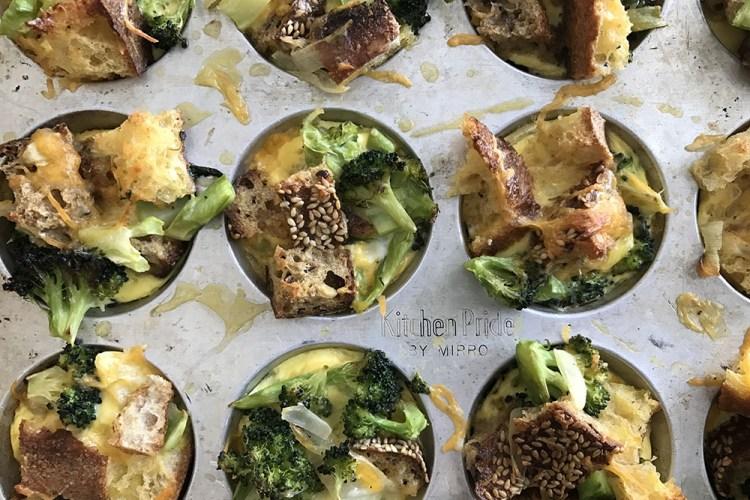 mini broccoli cheese stratas