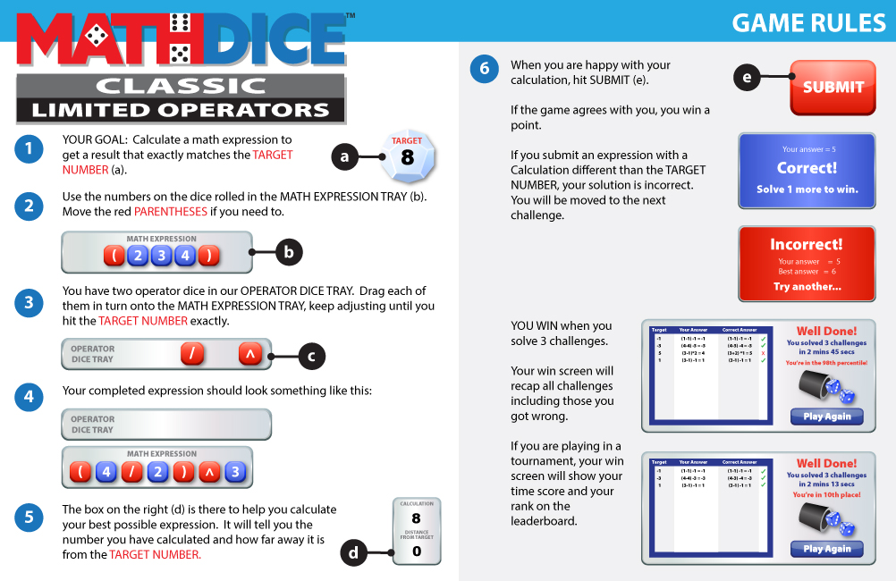 Math Dice Limited Operators Instructions
