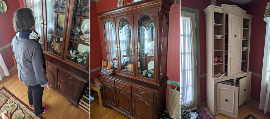 Three reference images of a dresser.