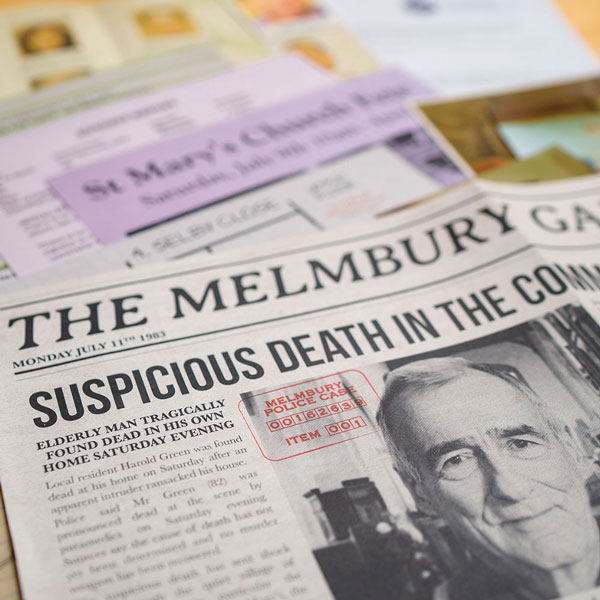 Decorative newspaper image for Cold Case: A Pinch of Murder