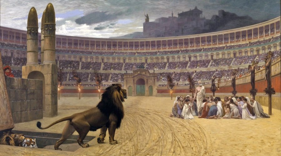 A lion in the coliseum represents the attack on your kids' Christian faith.