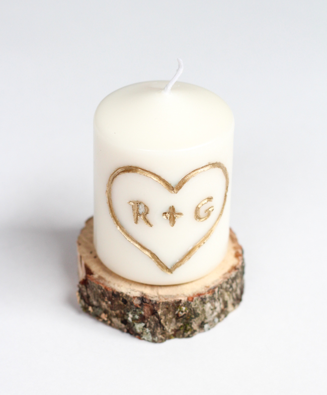 Carved Initial Candle: Last Minute Valentine's Day Gift Idea