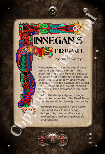 "front side of postcard ""Finnegan's Firewall"""