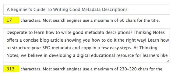 Example of a metadata description