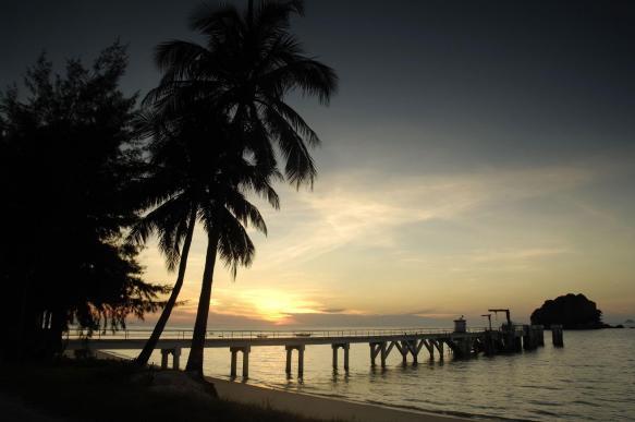 The jetty at Berjaya Tioman at dusk.