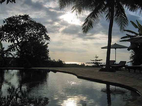 Sunset at the main pool at The Damai.