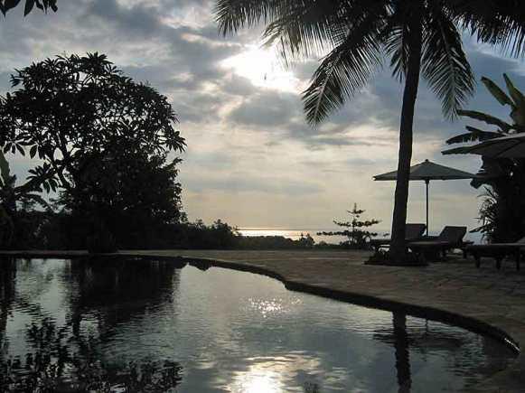 Sunset at the main pool at The Damai.