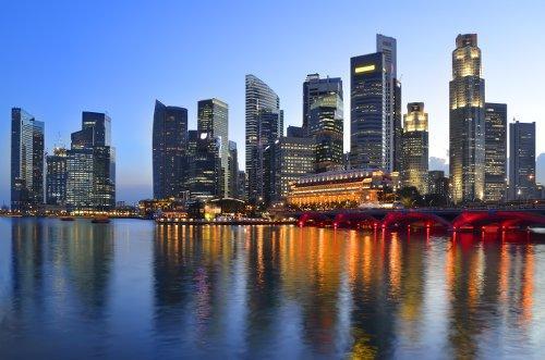 Singapore skyline at dusk.