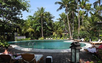 Pool area at Sandoway Resort in Ngapali Beach, Myanmar