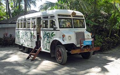 WW2 bus in Ngapali serves as transfer bus for Sandoway Resort