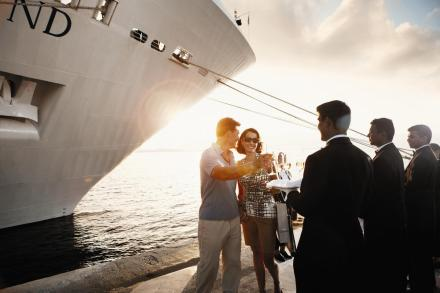 Welcome champagne cocktail when checking in with Silversea Cruises.