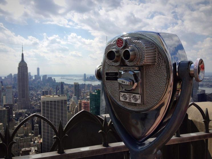This is binoculars on one of NYC:s high rises.