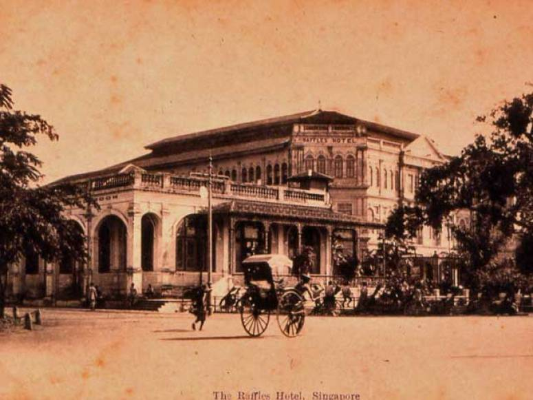 Raffles Hotel in Singapore in the early years.