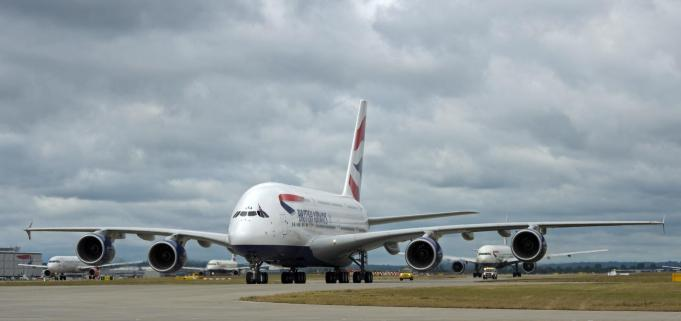 The first BA Airbus A380 arrives on the southern runway at Heathrow Airport. picture David Dyson