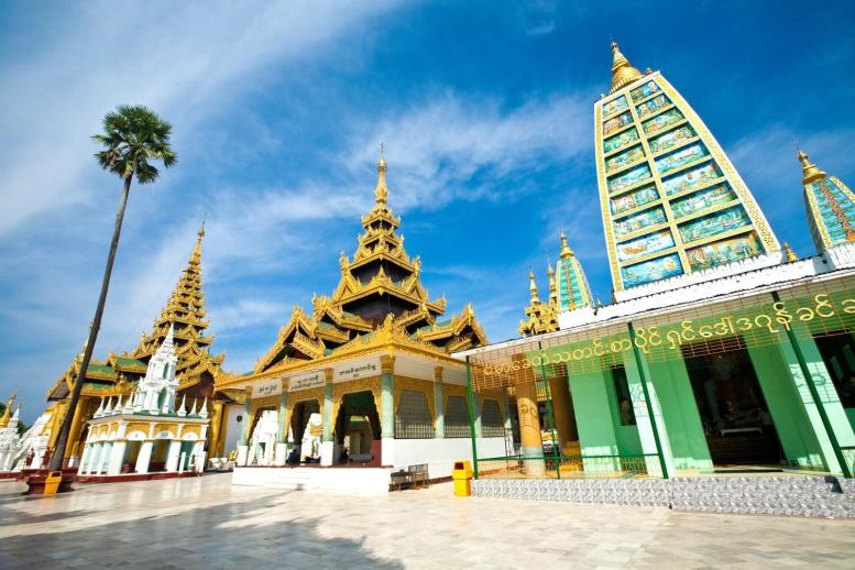 One of the many temples in Yangon, Myanmar.