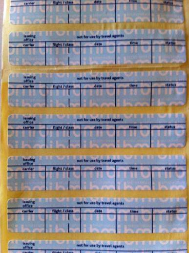 Revalidation stickers for air tickets.