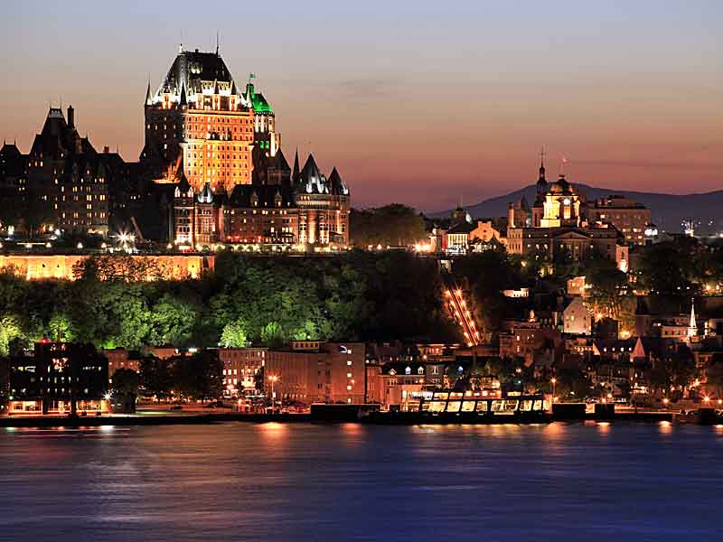 The majestic Chateau Frontenac in Quebec City at night.