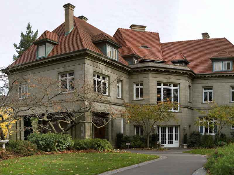 Pittock Mansion in Portland from the back.