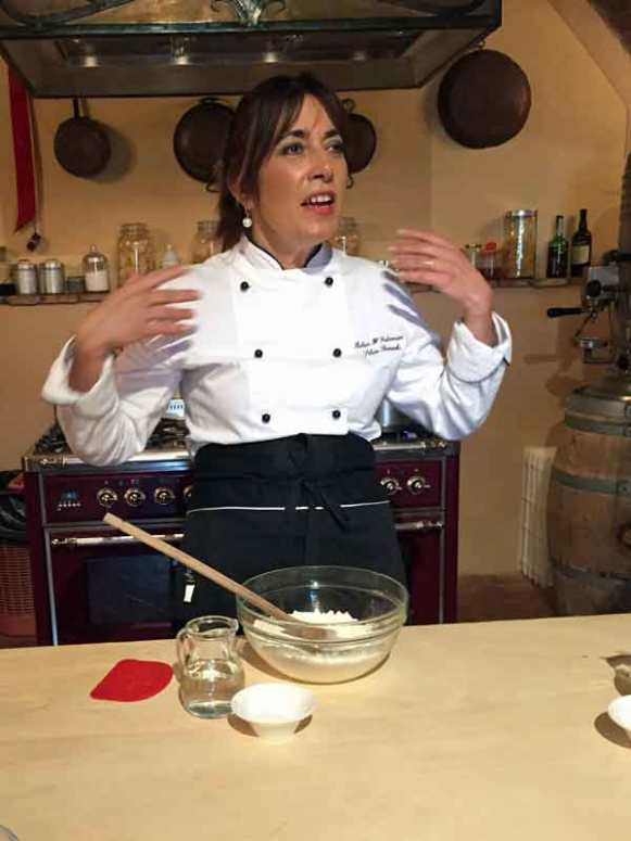 Silvia Baracchi doing the introduction for the cooking class.