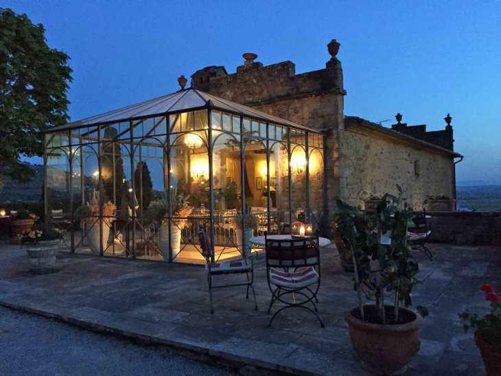 Il Falconiere Restaurant at dusk.