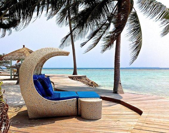 The sun deck at Kura Kura Resort in Karimunjawa.