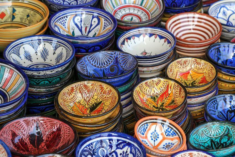 Cous cous bowls at the souk in Marrakech.