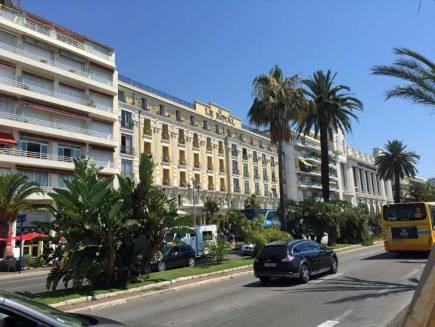 Facade of Hotel Le Royal Promenade in Nice.