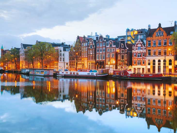 Amsterdam at dusk.