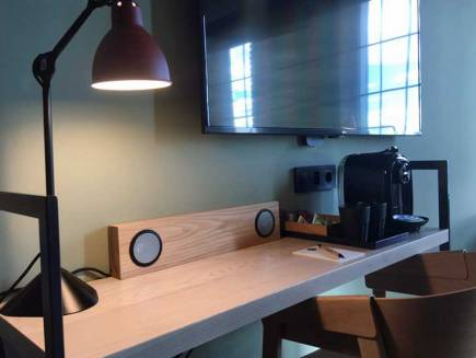 Orlo speakers built in to the desk at The Winery Hotel in Stockholm.