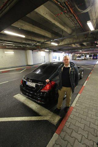 Simon at the MB AMG ride to the aircraft in Frankfurt.