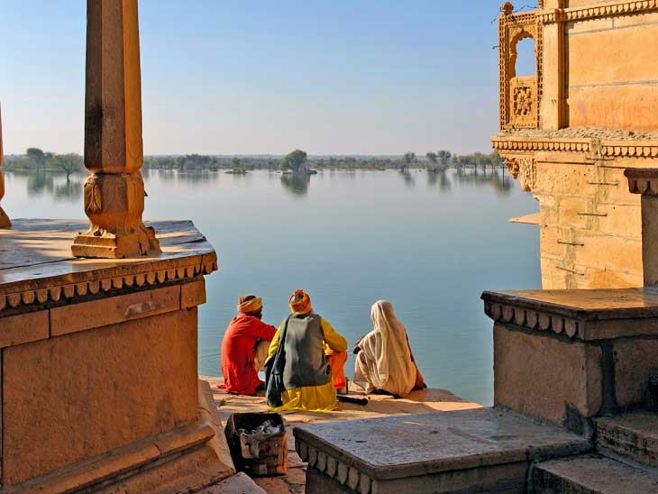 The lake near Jaisalmer, Rajasthan, India.